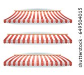 striped awnings set ... | Shutterstock .eps vector #649504015