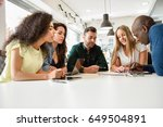 five young people studying with ... | Shutterstock . vector #649504891
