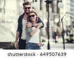 beautiful young couple in sun... | Shutterstock . vector #649507639