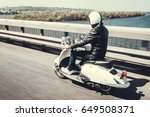 guy in leather jacket and... | Shutterstock . vector #649508371
