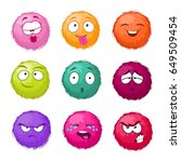 funny colorful cartoon fluffy...   Shutterstock .eps vector #649509454
