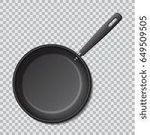 steel empty frying pan isolated.... | Shutterstock .eps vector #649509505