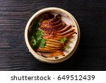 peking duck in bamboo steamer... | Shutterstock . vector #649512439