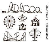 amusement park  roller coasters ...   Shutterstock .eps vector #649513984