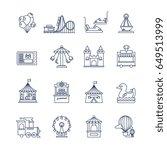 luna park amusement line vector ... | Shutterstock .eps vector #649513999