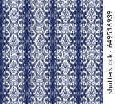 blue ikat ogee and damascus... | Shutterstock .eps vector #649516939