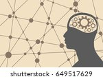 silhouette of a man's head with ... | Shutterstock . vector #649517629