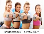 group of smiling people lifting ...   Shutterstock . vector #649524874