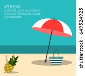 summer beach holiday vector...   Shutterstock .eps vector #649524925