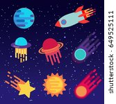 set of stickers with space... | Shutterstock .eps vector #649525111