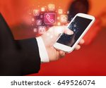hand holding smartphone with... | Shutterstock . vector #649526074