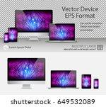 set of realistic computer... | Shutterstock .eps vector #649532089