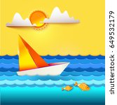 paper art carving with sailboat ... | Shutterstock .eps vector #649532179