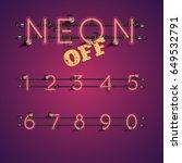 red neon numbers set on purple... | Shutterstock .eps vector #649532791