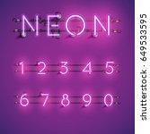 purple neon numbers set on... | Shutterstock .eps vector #649533595