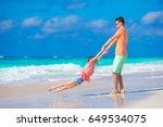 little girl and happy dad... | Shutterstock . vector #649534075