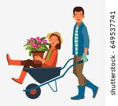 young and smiling man pushing... | Shutterstock .eps vector #649537741