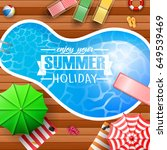 summer background with swimming ... | Shutterstock .eps vector #649539469