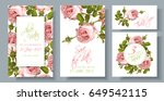 vector wedding invitations set... | Shutterstock .eps vector #649542115