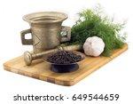 still life spices tellicherry... | Shutterstock . vector #649544659