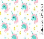 magic unicorn seamless pattern. ... | Shutterstock .eps vector #649549171