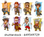 cartoon smiling pirate warrior... | Shutterstock .eps vector #649549729