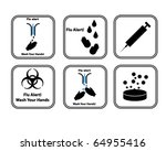 set of vector flu alert icons | Shutterstock .eps vector #64955416