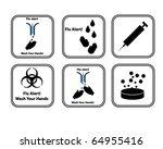 set of vector flu alert icons | Shutterstock .eps vector #64955416
