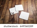 blank square beer coasters and... | Shutterstock . vector #649560289