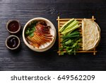 peking duck in bamboo steamer... | Shutterstock . vector #649562209