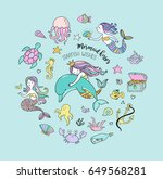 under the sea   little mermaid  ... | Shutterstock .eps vector #649568281
