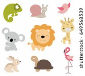 set of cute baby animals in... | Shutterstock .eps vector #649568539