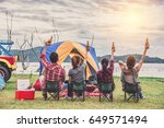 group of young asian camper... | Shutterstock . vector #649571494