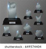 glass trophy award. vector... | Shutterstock .eps vector #649574404