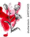 illustration made by ink on... | Shutterstock . vector #649574455
