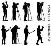 set cameraman with video camera.... | Shutterstock . vector #649578025