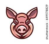 pig head mascot emblem   vector ... | Shutterstock .eps vector #649578829