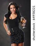 Cute Brunette And Wine In A...