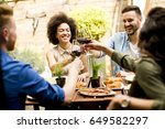 cheerful young people have... | Shutterstock . vector #649582297