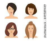 set of woman hair styling. four ... | Shutterstock .eps vector #649589449
