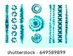 set of tie dye art brushes.... | Shutterstock .eps vector #649589899