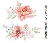 watercolor flowers set. it's... | Shutterstock . vector #649590001