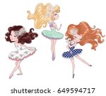 cute girls vector graphic. | Shutterstock .eps vector #649594717