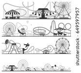 set of horizontal amusement... | Shutterstock .eps vector #649597957