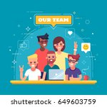 our team   modern flat vector... | Shutterstock .eps vector #649603759