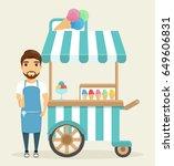 the ice cream man standing next ... | Shutterstock .eps vector #649606831