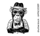 monkey  hipster with paws... | Shutterstock .eps vector #649610389