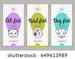 Stock vector vector set of templates packaging pets food label banner poster identity branding color 649613989