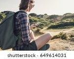 hiker traveler woman on a... | Shutterstock . vector #649614031