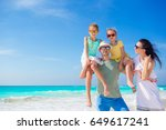 young family on vacation have a ... | Shutterstock . vector #649617241